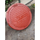 Люк легкий канализационный полимерпесчаный красный с замком