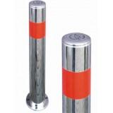 Столбик с нержавеючей стали антипарковочный, с распоркой внутри и лентой, Д-80 мм (под бетонирование), СНБ-750-83 нержавеющий столбик под бетонирование