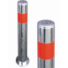 Столбик с нержавеючей стали антипарковочный, с распоркой внутри и лентой, Д-80 мм (под бетонирование), СНБ-500-83 нержавеющий столбик под бетонирование