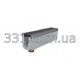 Комплект: лоток водоотводный Super ЛВ-11.20.27 бетонный вертикальным водосливом с чугунной решеткой, Е