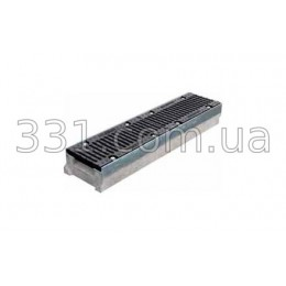 Комплект: лоток водоотводный Super ЛВ-15.25.13 бетонный с чугунной решеткой, класс Е