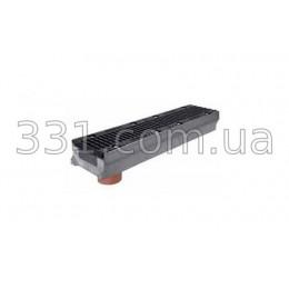 Комплект: лоток водоотводный Super ЛВ-15.25.13 бетонный с вертикальным водосливом с чугунной решеткой, класс Е
