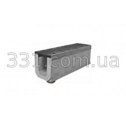 Комплект: лоток водоотводный Super ЛВ-15.25.31 бетонный с вертикальным водосливом с чугунной решеткой, класс Е