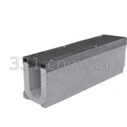 Комплект: лоток водоотводный Super ЛВ-11.20.27 бетонный с чугунной решеткой, Е