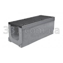 Комплект: лоток водоотводный Super ЛВ-20.30.30 бетонный с чугунной решеткой, класс Е