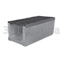 Комплект: лоток водоотводный Super ЛВ-30.40.41 бетонный с чугунной решеткой, класс Е