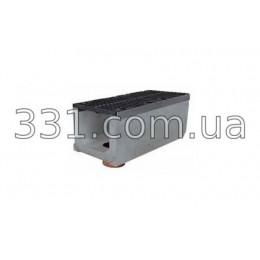 Комплект: лоток водоотводный Super ЛВ-30.40.41 бетонный с вертикальным водосливом с чугунной решеткой, класс Е