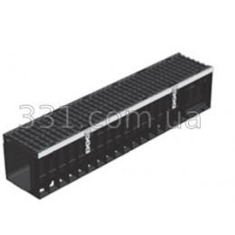 Лоток водоотводный пластиковый Super ЛВ-15.19,6.20,3 с чугунной решеткой, кл.Е600