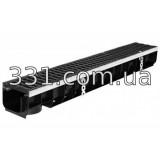 Комплект: лоток водоотводной пластиковый Super ЛВ-10.14,5.15,5 с чугунной решеткой,кл.D400