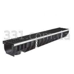 Комплект: лоток водоотводный пластиковый Super ЛВ 10 14 5 15 5 с чугунной решеткой  класс E600