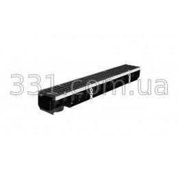 Комплект: лоток водоотводной пластиковый Super ЛВ-10.14,5.12 с чугунной решеткой, кл.Е600