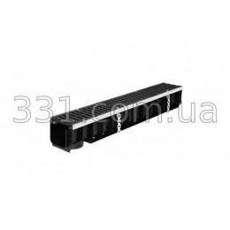 Комплект: лоток водоотводной пластиковый Super ЛВ-10.14,5.14 с чугунной решеткой, кл.Е600