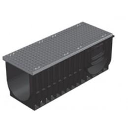 Комплект: лоток водоотводный ЛВ-30.28.39,6 пластиковый усиленный с решёткой стальной ячеистой оцинкованной
