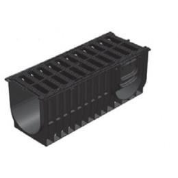 Комплект: лоток водоотводный ЛВ-30.28.39,6 пластиковый усиленный с решёткой чугунной