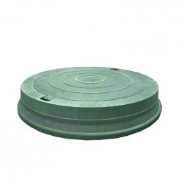 Люк легкий канализационный полимерпесчаный зелёный с замком