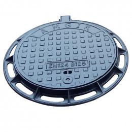 Люк чугунный канализационный среднего типа  с замком В12 + шарнир ВЧ