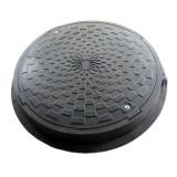 Люк полимерный обзорных колодцев, 3т, черный, с з / п (герметичный с резиновой прокладкой)