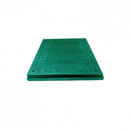 Люк полимерпещанный квадратный 640х640 с замком А15  (чёрный)