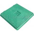 Люк пластиковый квадратный 650х650 с замком (зелёный)