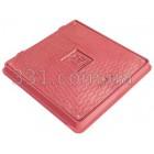 Люк пластиковый квадратный 650х650 с замком (красный)