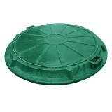 Люк садовый полимерпесчаный (А15) зелёный с замком
